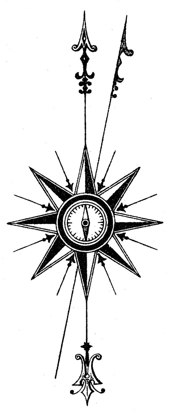 Vintage Steampunk Clip Art - Compass Rose | Compass rose ...