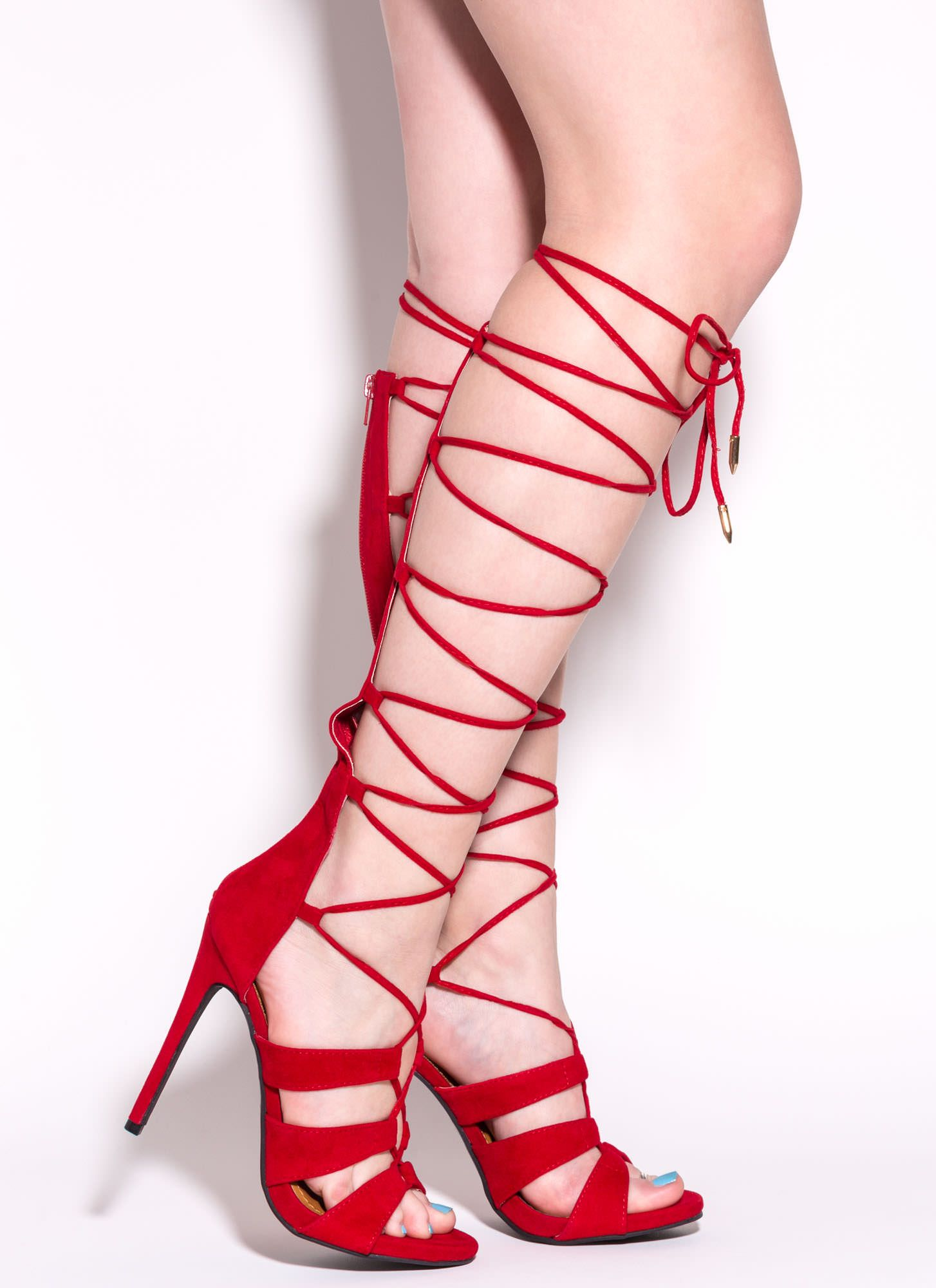 35033461db1d Laced In Velvet Gladiator Heels