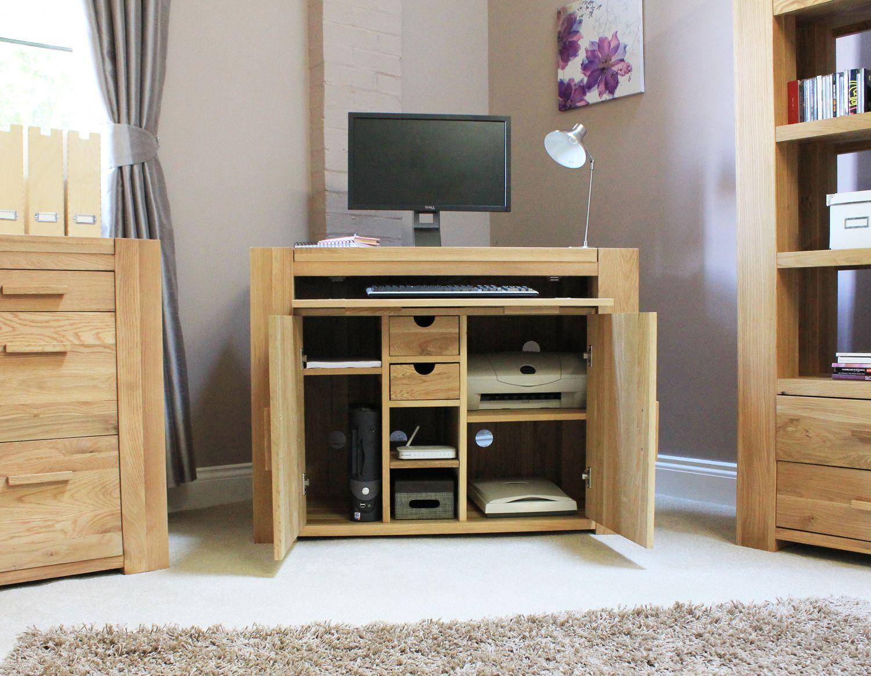 solid oak hidden home. Atlas Solid Oak Hidden Home Office - Office/ PC Desks Solid Oak Hidden Home