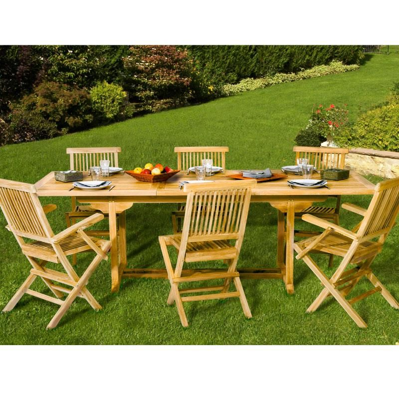 Table de jardin en teck rectangulaire extensible 180-240cm SUMBARA ...