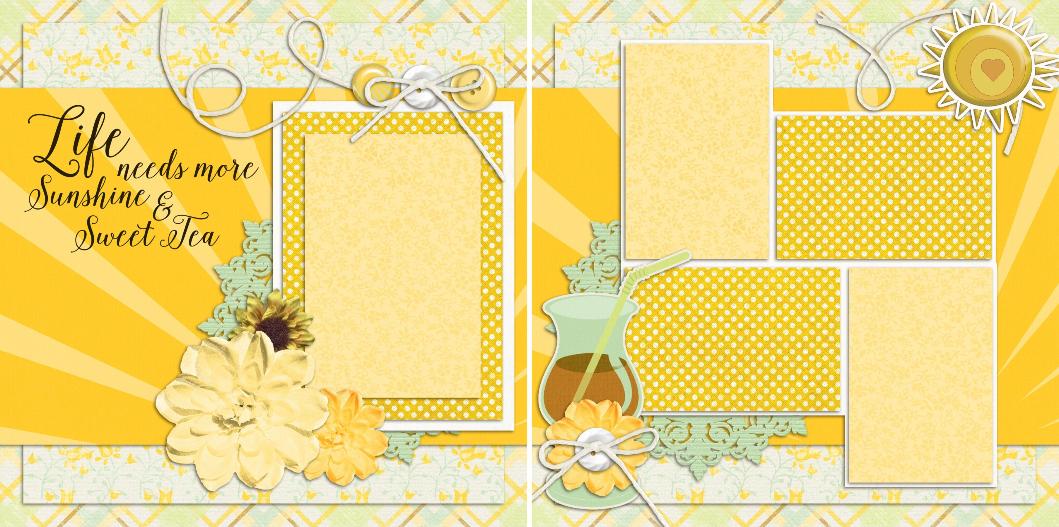 How to add scrapbook pages - Premade Scrapbook Pages Southern Sweet Tea Just Add Photos