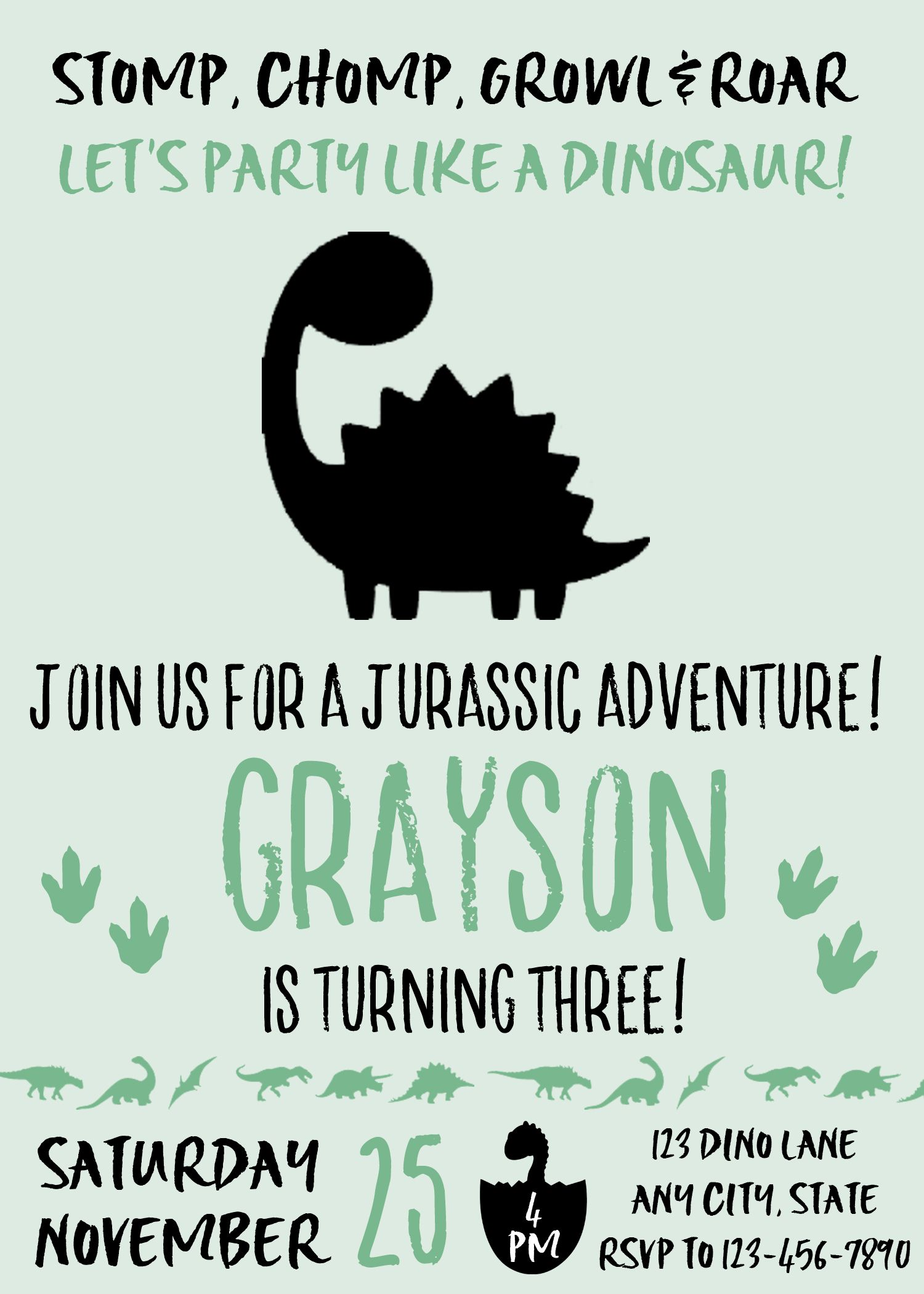 Dinosaur Invitation Birthday Party Printable Invite Boy