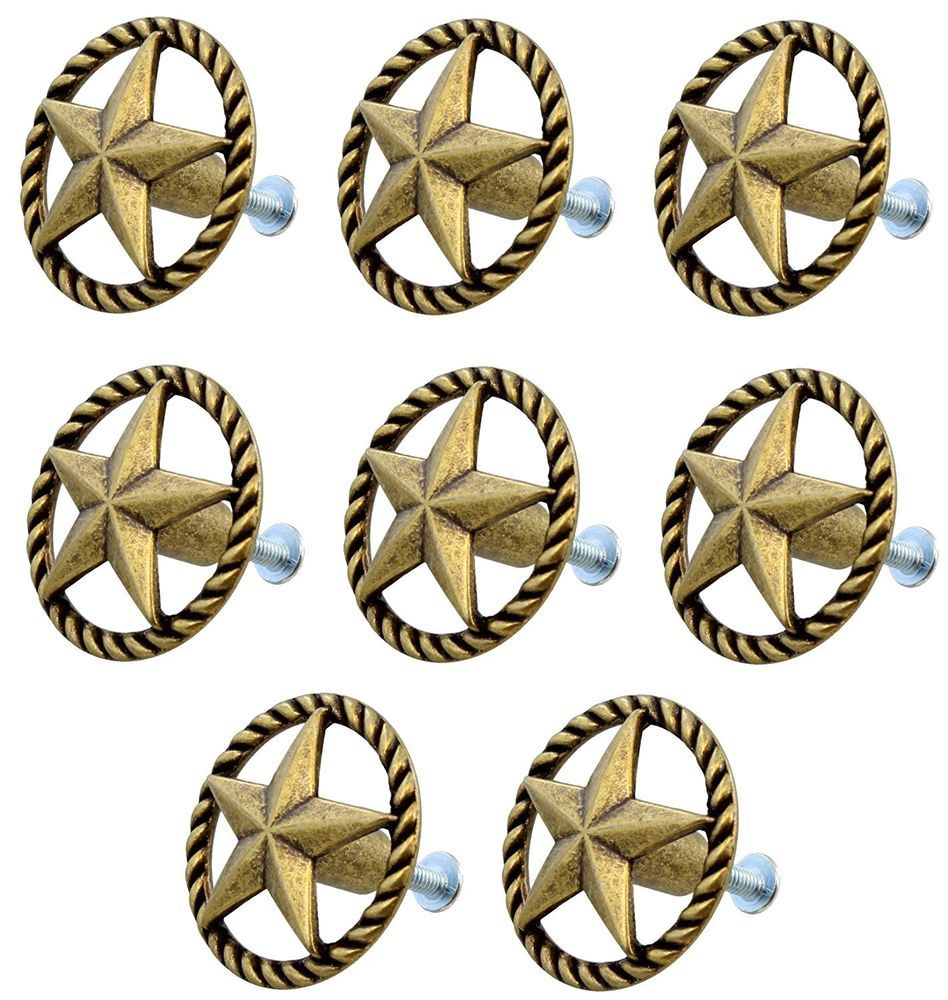 NEW RUSTIC WESTERN ANTIQUE BRASS STAR ROPE DRAWER HANDLE CABINET KNOB DECOR  #Unbranded