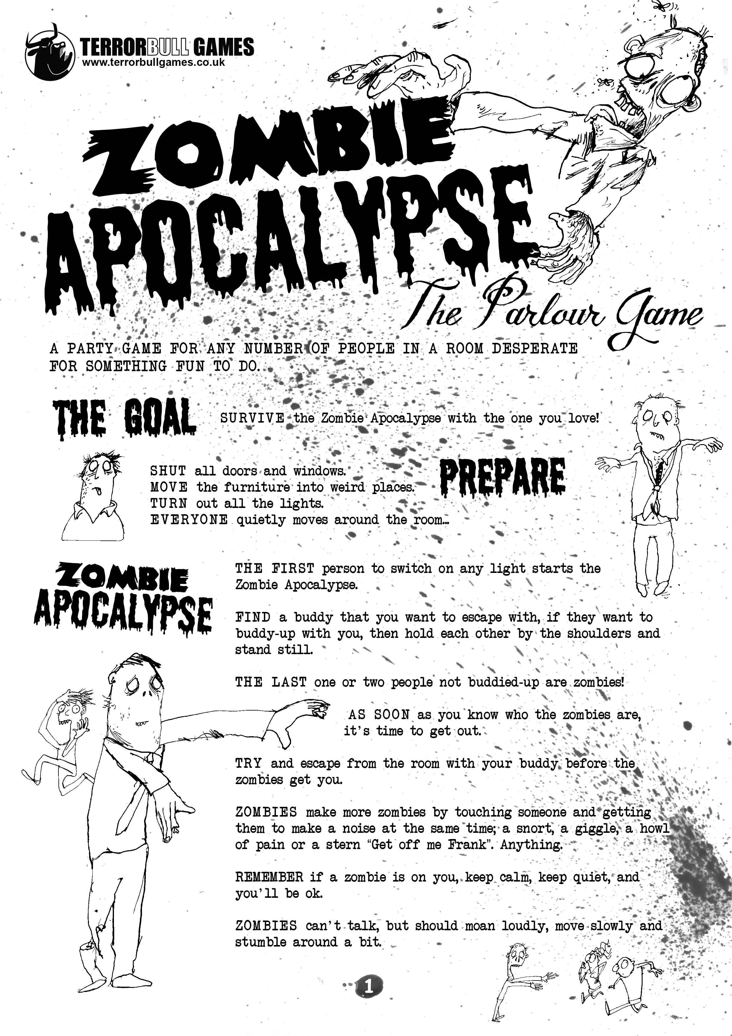 Zombie Apocalypse The Parlour Game
