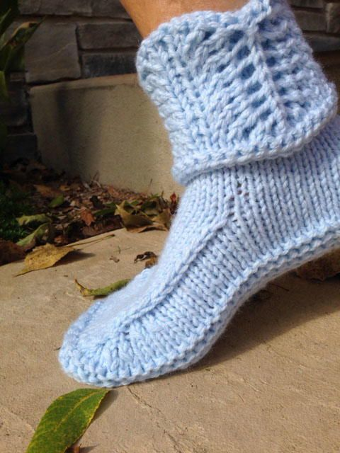 Cuffed Knitted Slippers Pattern 1 Footsies Pinterest Patterns