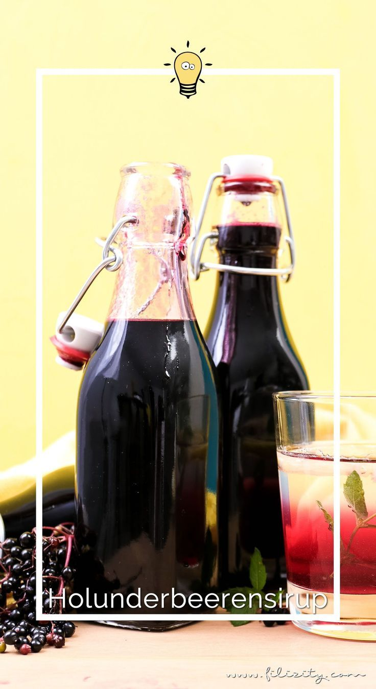Holunderbeeren-Sirup Rezept (Fliederbeerensirup) für Getränke & mehr #elderberryrecipes