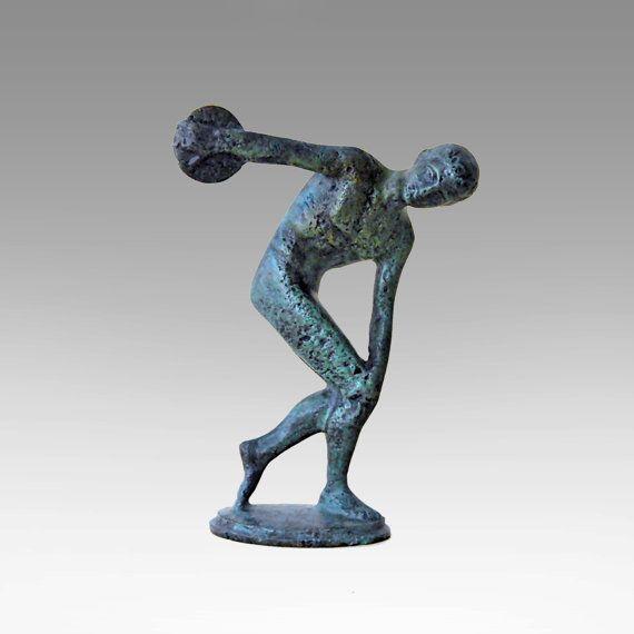 Bronze Discus Thrower Sculpture, Greek Athlete Statue