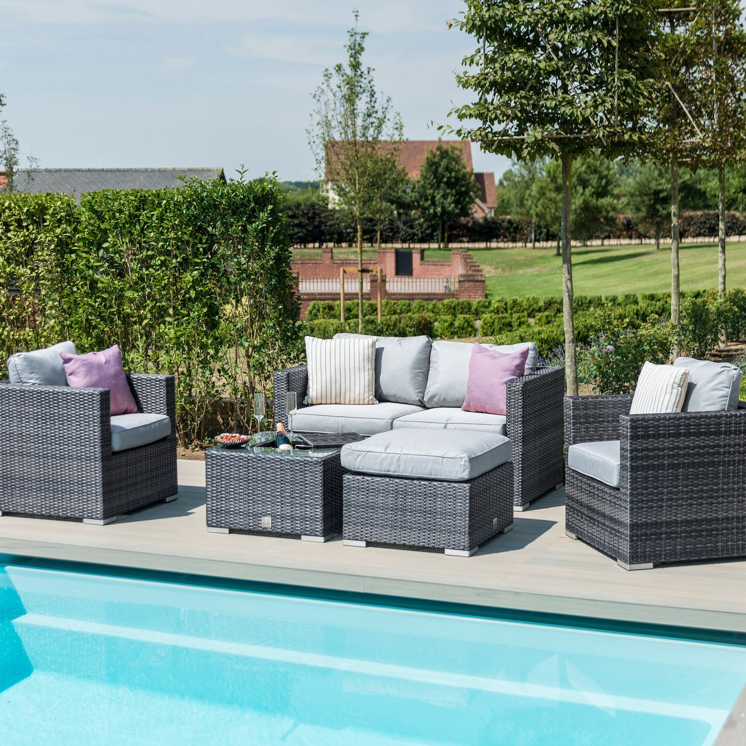 Maze Rattan Garden Furniture Grey Georgia 2 Seat Sofa Set With Ice Bucket In 2020 Sofa Set Rattan Garden Furniture Rattan Corner Sofa