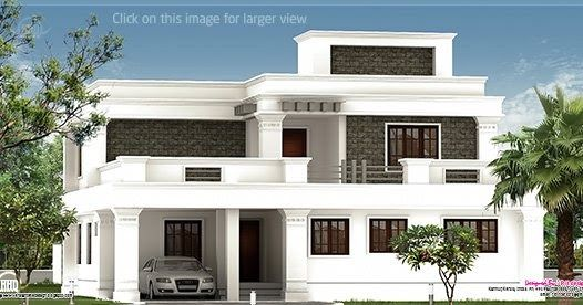 Flat Roof Villa Exterior In 2400 Sq Feet House Roof Design Kerala House Design Flat Roof House