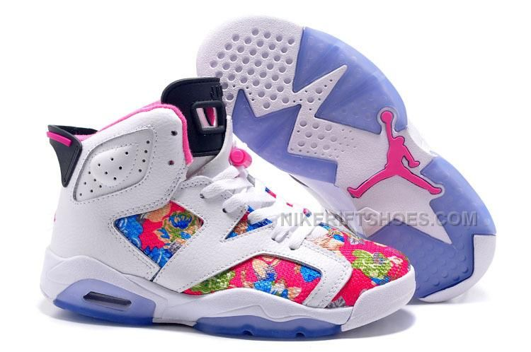 """8f8286f21f9fa8 Buy 2017 Air Jordan 6 GS """"Floral Print"""" White Pink Shoes New Release from  Reliable 2017 Air Jordan 6 GS """"Floral Print"""" White Pink Shoes New Release  ..."""