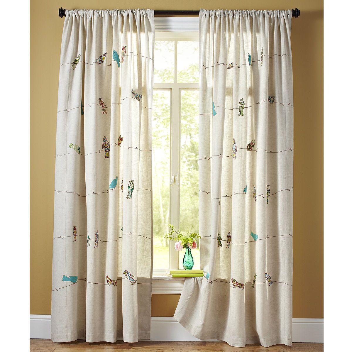 Applique Birds On A Wire Curtain My Feathered Nest Bird Curtains Curtains Kids Room Curtains