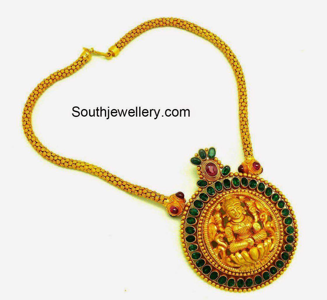 Gold chain with lakshmi pendant jewellary pinterest chains
