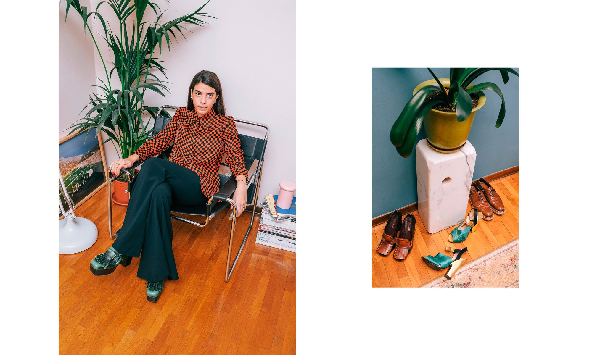 Outfit: Shirt and shoes from Miu Miu, pants from Topshop. To the right: Prada-shoes from various collections.