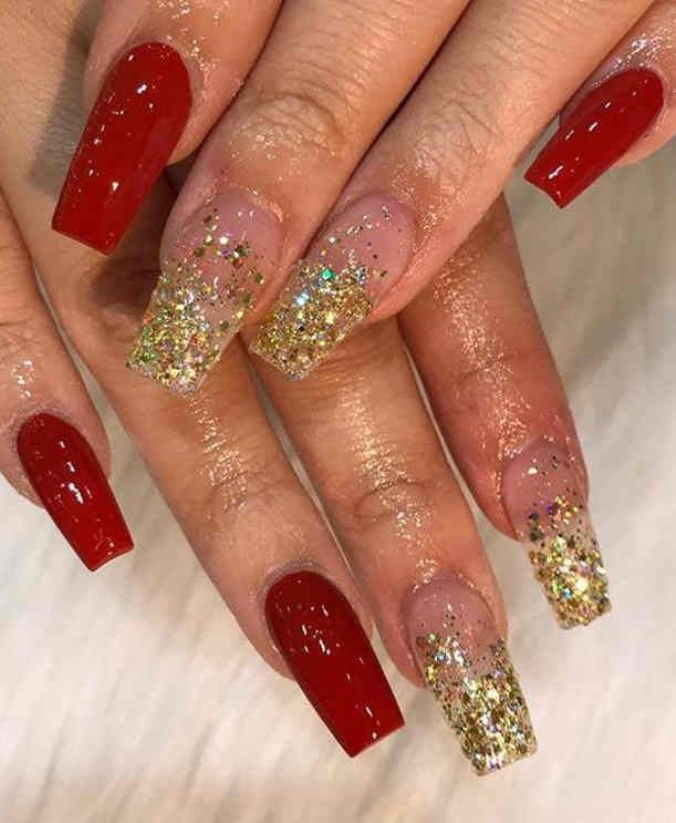 65 Christmas Holiday Coffin Nail Designs In Red And Gold Gold Acrylic Nails Prom Nails Red Prom Nails