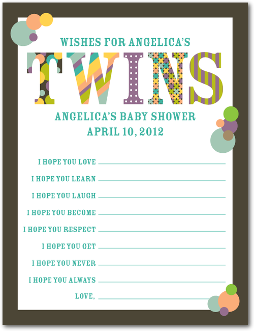 Twins Wishes From The Guests For The New Babies Baby Showers In