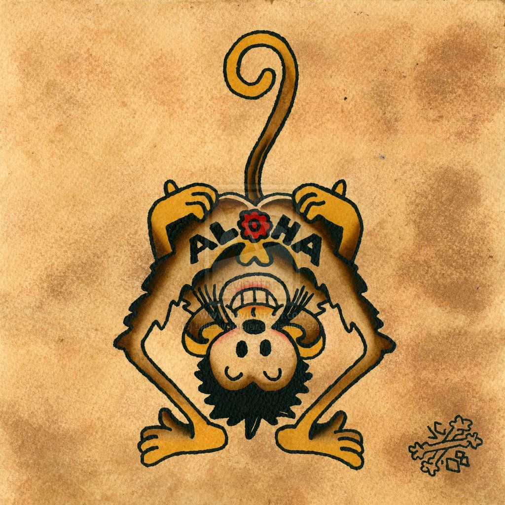 Aloha Monkey Aloha Tumblr, Aloha Tattoo, Max Charles, Sailor Jerry Tattoos, Monkey
