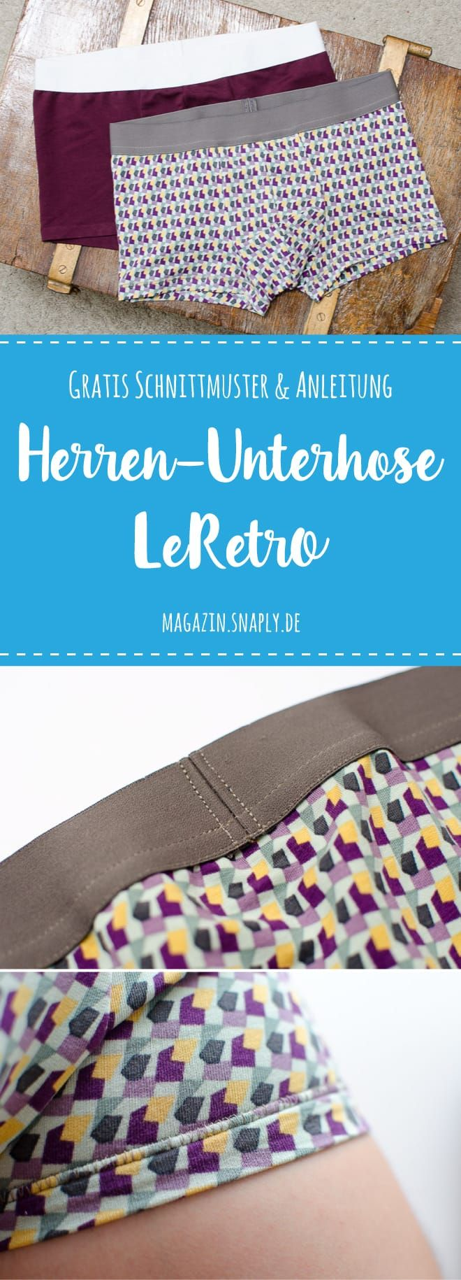 Kostenloses Schnittmuster: Herren-Unterhose LeRetro | Snaply-Magazin #gratisschnittmuster