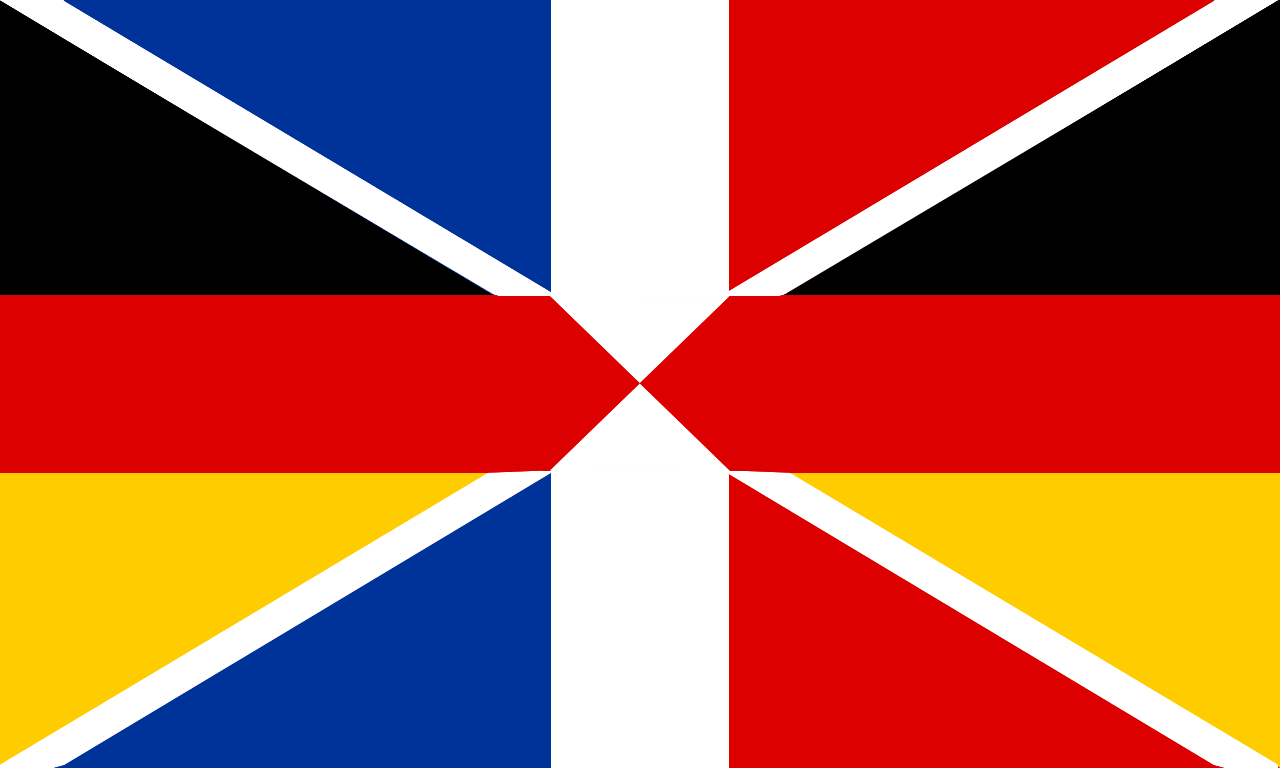 Franco German Flag It Is A Fusion Of The Two National Flags In A Fashion Not Unlike The Fusion Of The Flags Of England Flag Of Europe German Flag French Flag