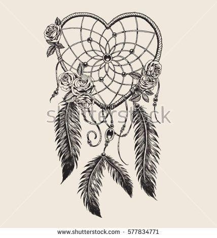 Hand Drawn Heart Shaped Dream Catcher Indian Stuff Pinterest Cool Drawn Dream Catchers