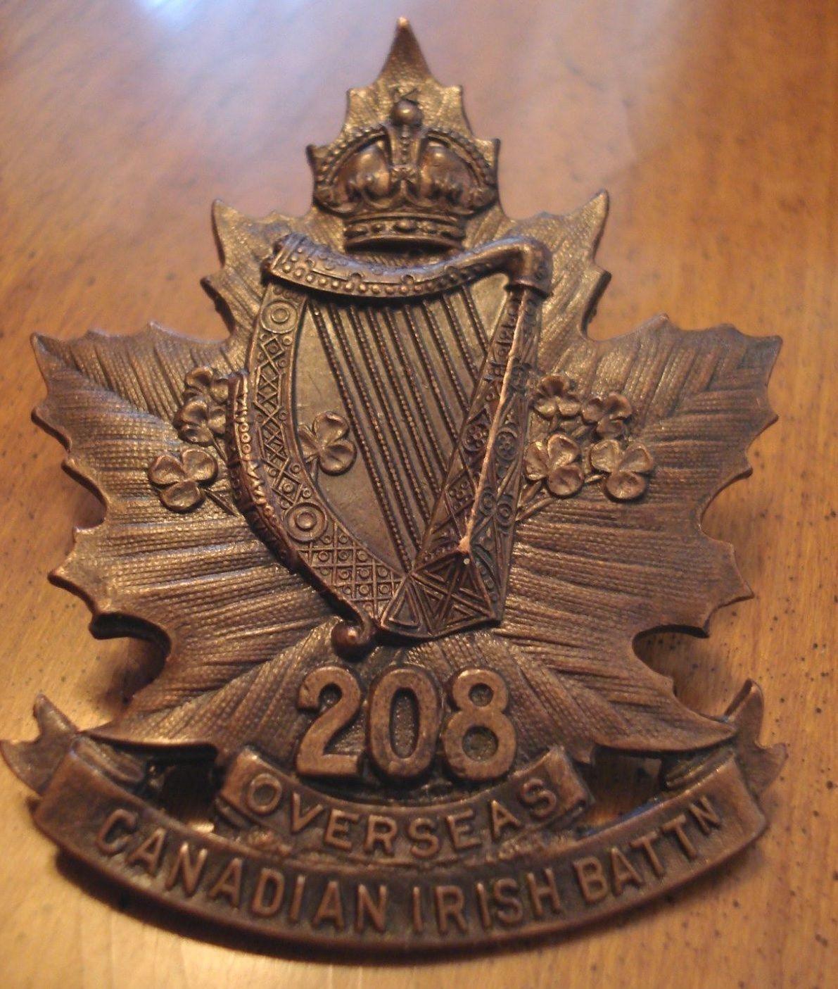 CANADIAN WW1 CEF 208 CAP BADGE OVERSEAS (Canadian Irish)   www gelev