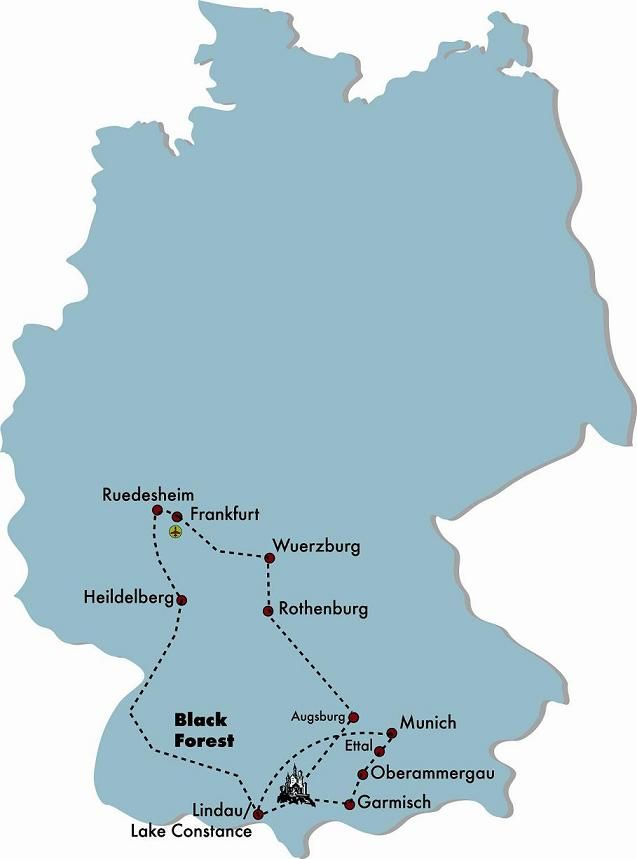 Map Of Germany Garmisch.Romantic Road Germany Tour Map For Romantic Germany Travel In
