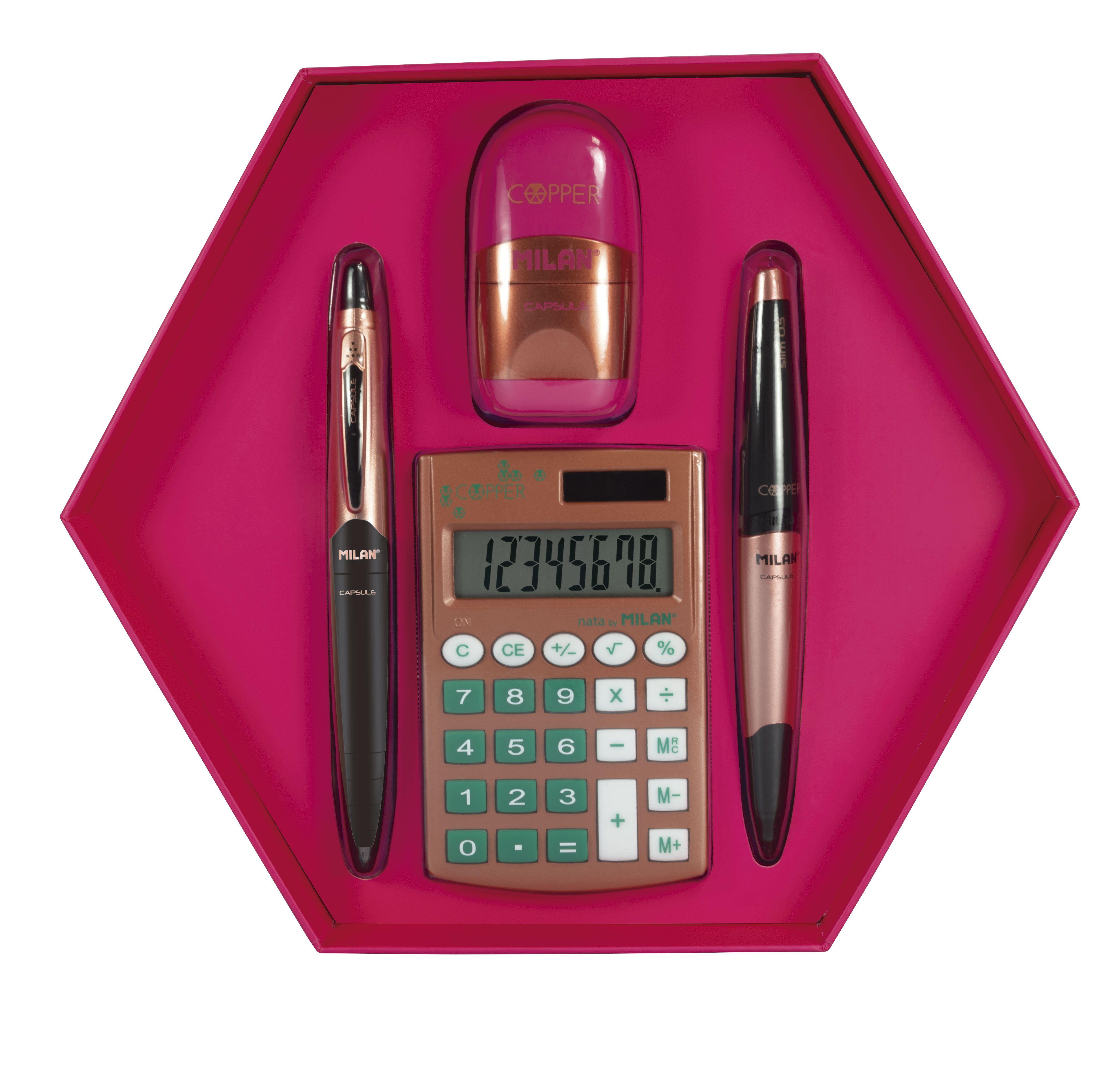cb1c0688494 Caja de regalo hexagonal de productos MILAN , bolígrafo, portaminas,  afilaborra y calculadora puedes