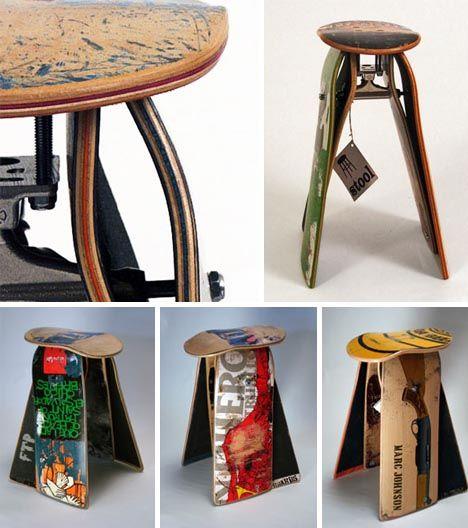 recycled skateboard hocker skateboard m bel pinterest skateboard m bel und m bel. Black Bedroom Furniture Sets. Home Design Ideas