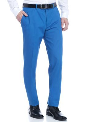 Tallia Orange Cobalt Slim-Fit Cotton Dress Pant
