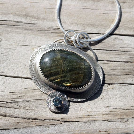 Labradorite Pendant Blue Zircon Canadian by SincerelyEarth on Etsy.  Free Holiday Shipping.