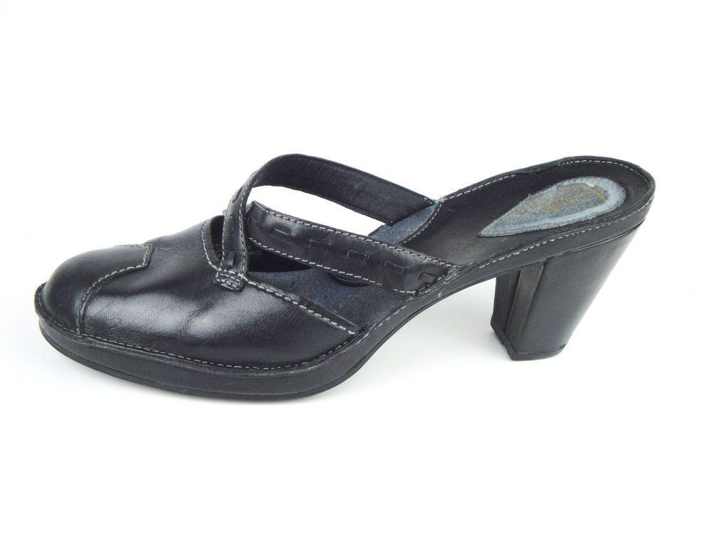 Clarks Artisan Black Leather Mules Slip On Heel Comfort Shoes Women Size 8  M #Clarks