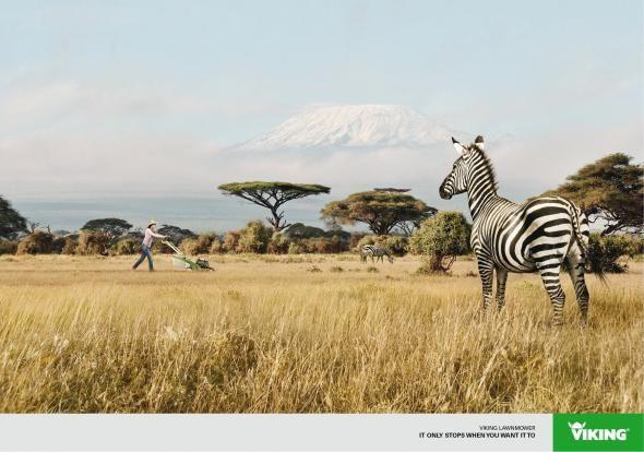 Viking Lawnmower: Further - Zebra | #ads #marketing #creative #werbung #print #poster #advertising #campaign
