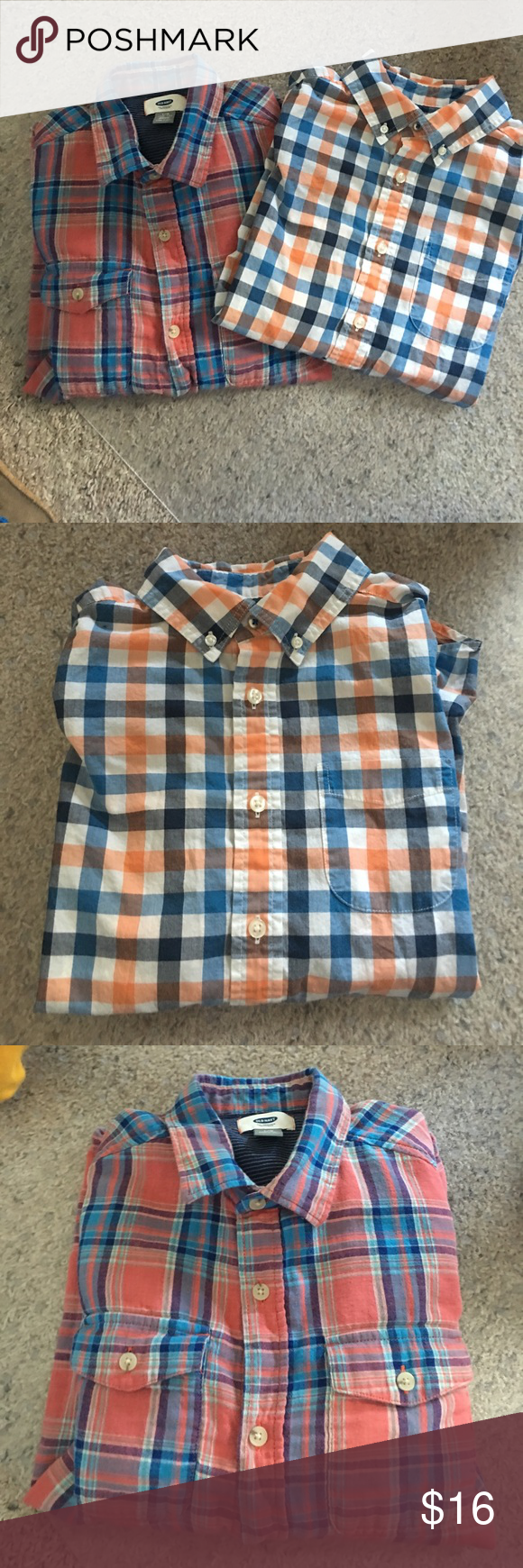 Boys spring plaid shirt bundle Two very nice. MUNT condition boys plaid dress shirts.  Easy to dress up or down.  Wear with dress pants & nice tie or bow tie.  Dress down, roll up sleeves with jeans & converse!  Both like new!  Both size 10/12.  The red/blue w/ two pockets up front a bit more casual, light weight soft material...from Old Navy.  The other cotton, very versatile & good looking from Land's End.  No stains, perfect colors for Spring, Summer & wear into fall. Land's End Shirts…