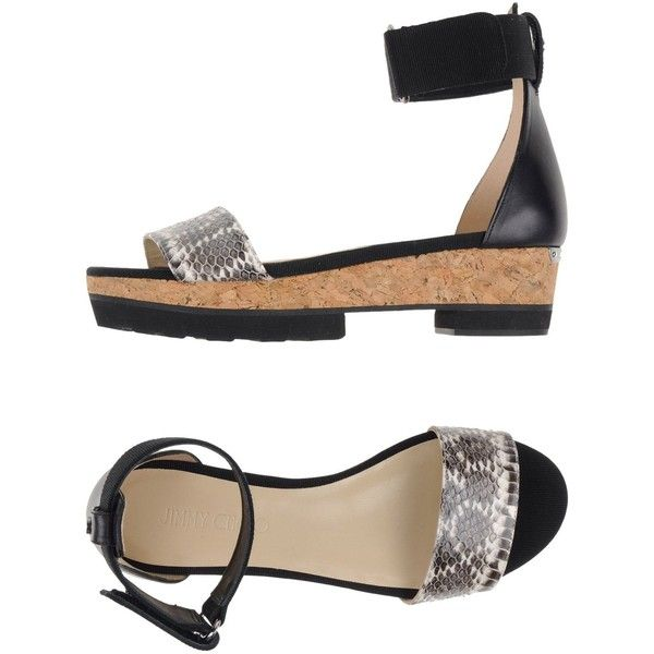 Jimmy Choo London Sandals ($475) ❤ liked on Polyvore featuring shoes, sandals, grey, wedge heel sandals, gray wedge sandals, jimmy choo shoes, gray sandals and leather shoes