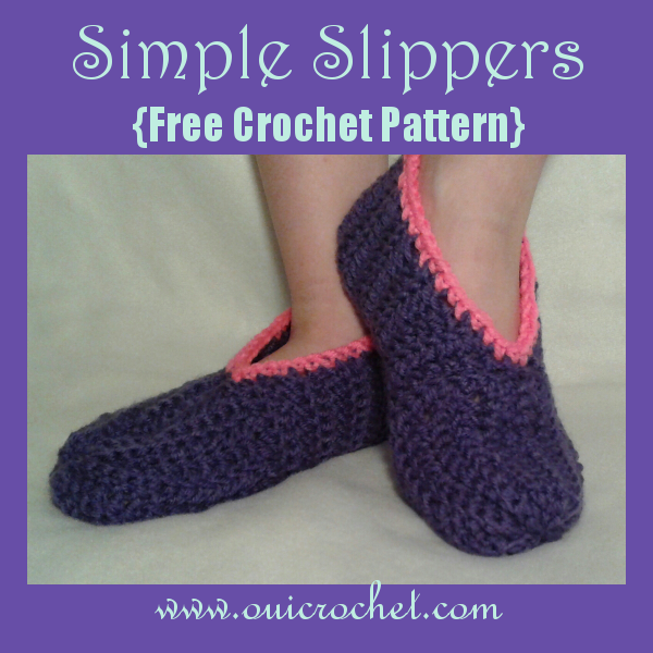 Childs Simple Slippers Free Crochet Pattern Ouicroche Oui