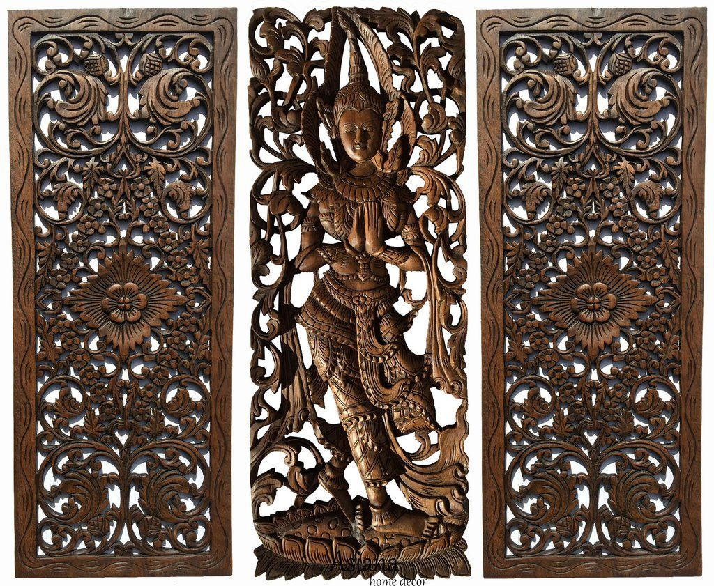 Multi Panels Oriental Home Decor Wood Carved Floral Wall Art Bali Ho Asiana Home Decor Floral Wall Art Wood Wall Sculpture Traditional Wall Art