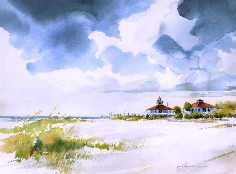 Port Boca Grande Lighthouse Watercolor Illustration Watercolor