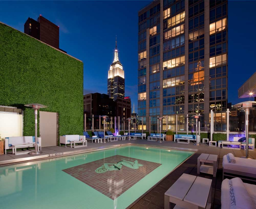 Unbelievable Panoramas Of The Empire State Building And The City Skyline From The Rooftop Pool At Gansevoort Park Rooftop Bars Nyc New York Rooftop Nyc Rooftop