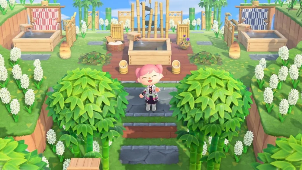 For Those Who Loved My Cherry Blossom Garden I Made A Bamboo Spa Right Above It Ac Newhorizons Garden Animals Animal Crossing Qr Animal Crossing