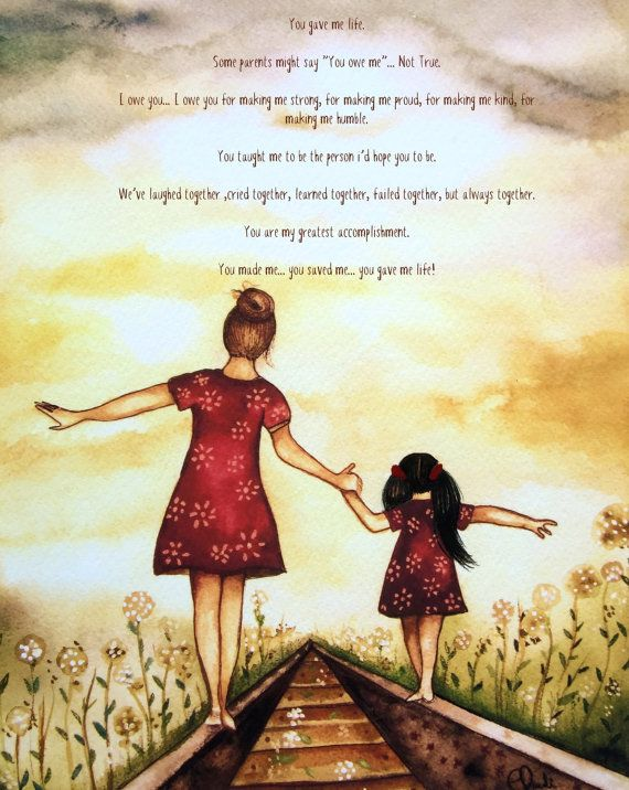 """Mother and Blonde daughter """"our path"""" art print by Claudia Tremblay"""
