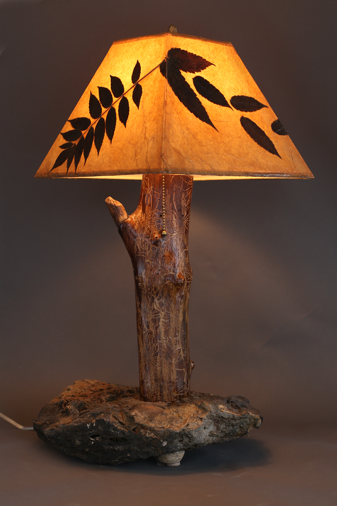 Hand crafted rustic wood lamp with stone base elm stem for Crafting wooden lamps