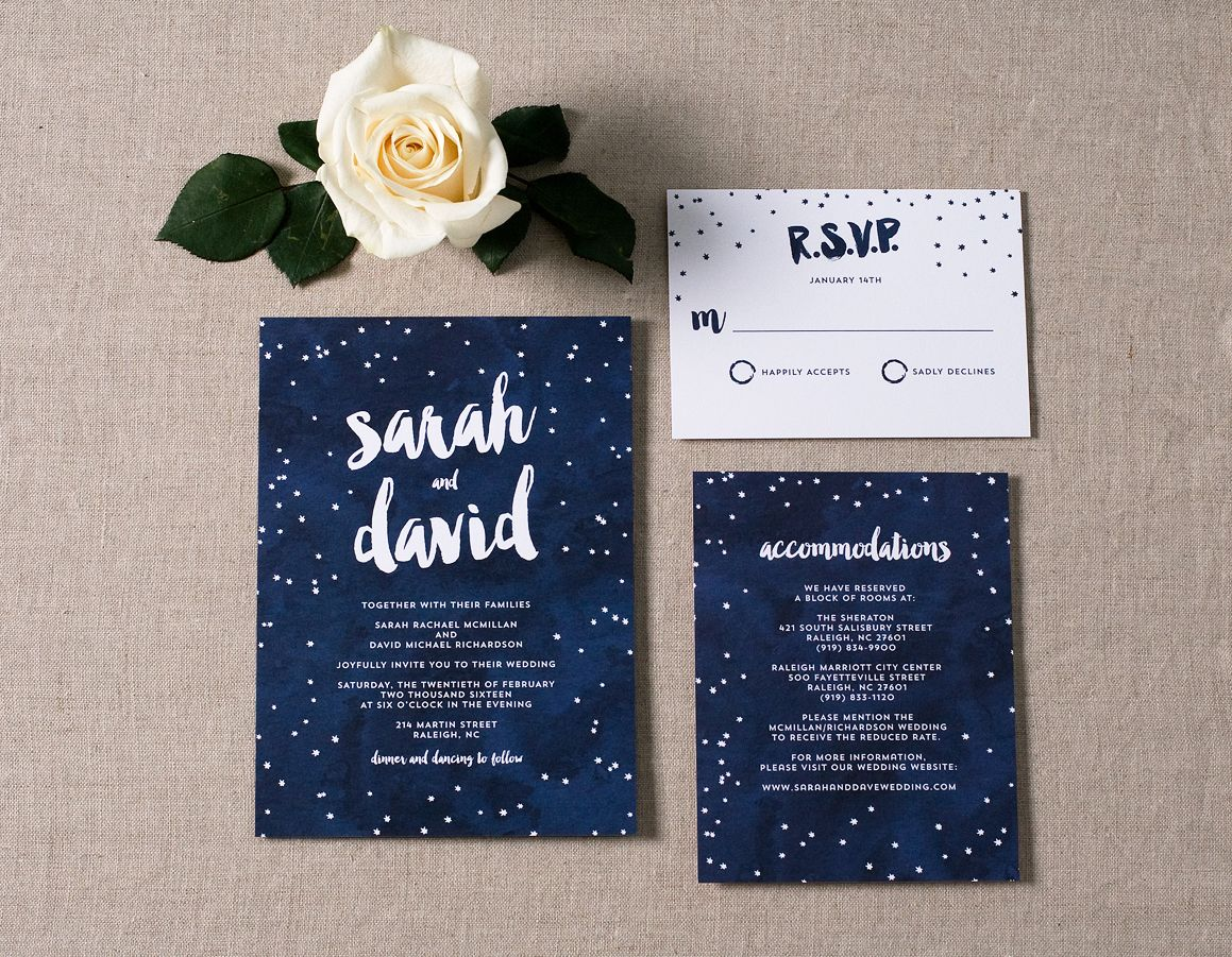 Under the Stars Wedding Invitations | Romantic wedding invitations ...