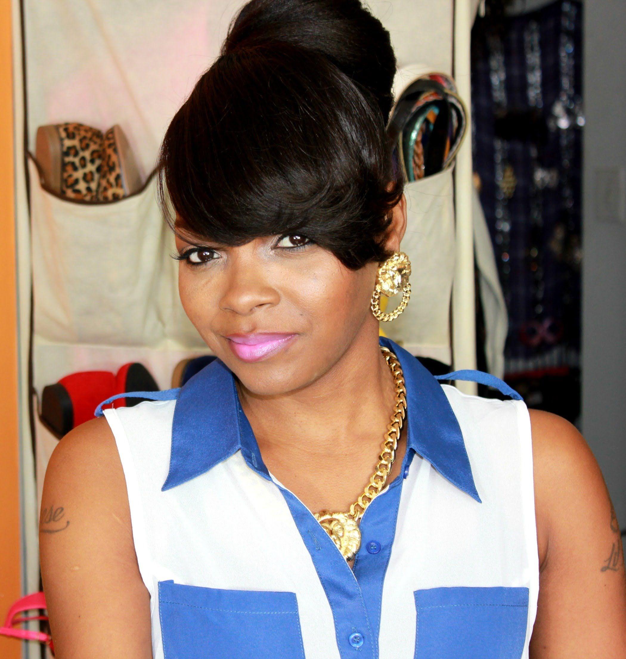 Bun Styles With Bangs For Black Women