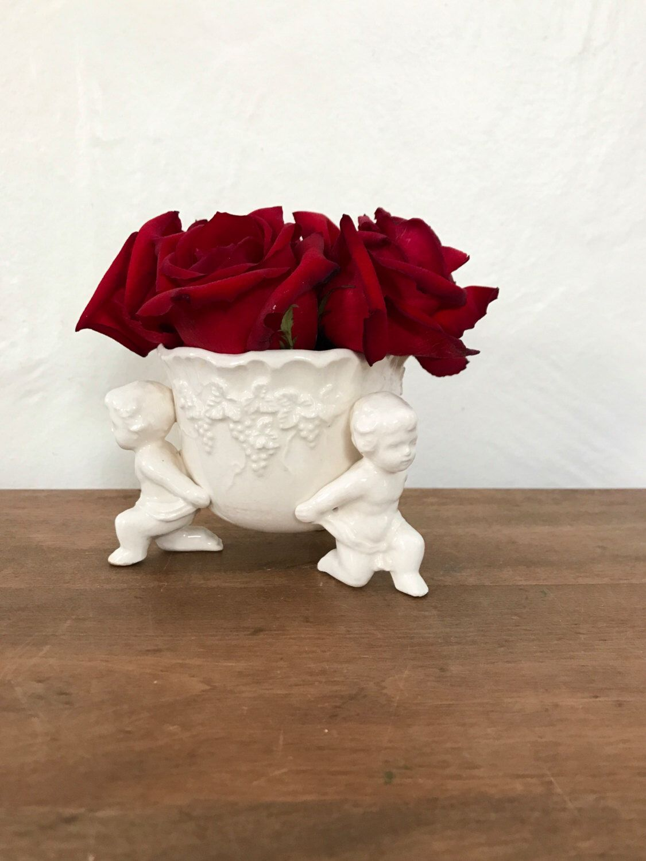 Cherub Vase Vintage Cherub Flower Pot Lefton Bowl Valentine Gift For Her Shabby Chic Garden S Valentines Gifts For Her Valentine Gifts Vintage Valentines