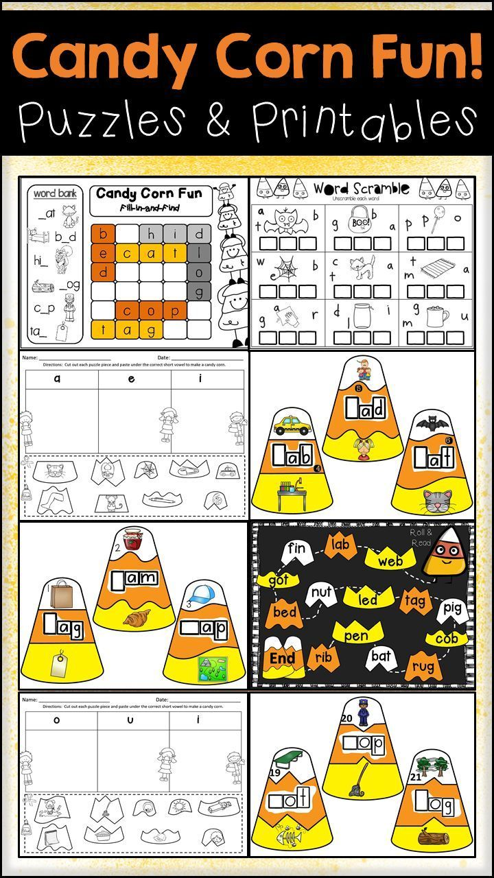 Halloween Candy Corn Fun Cvc Puzzles And Printables