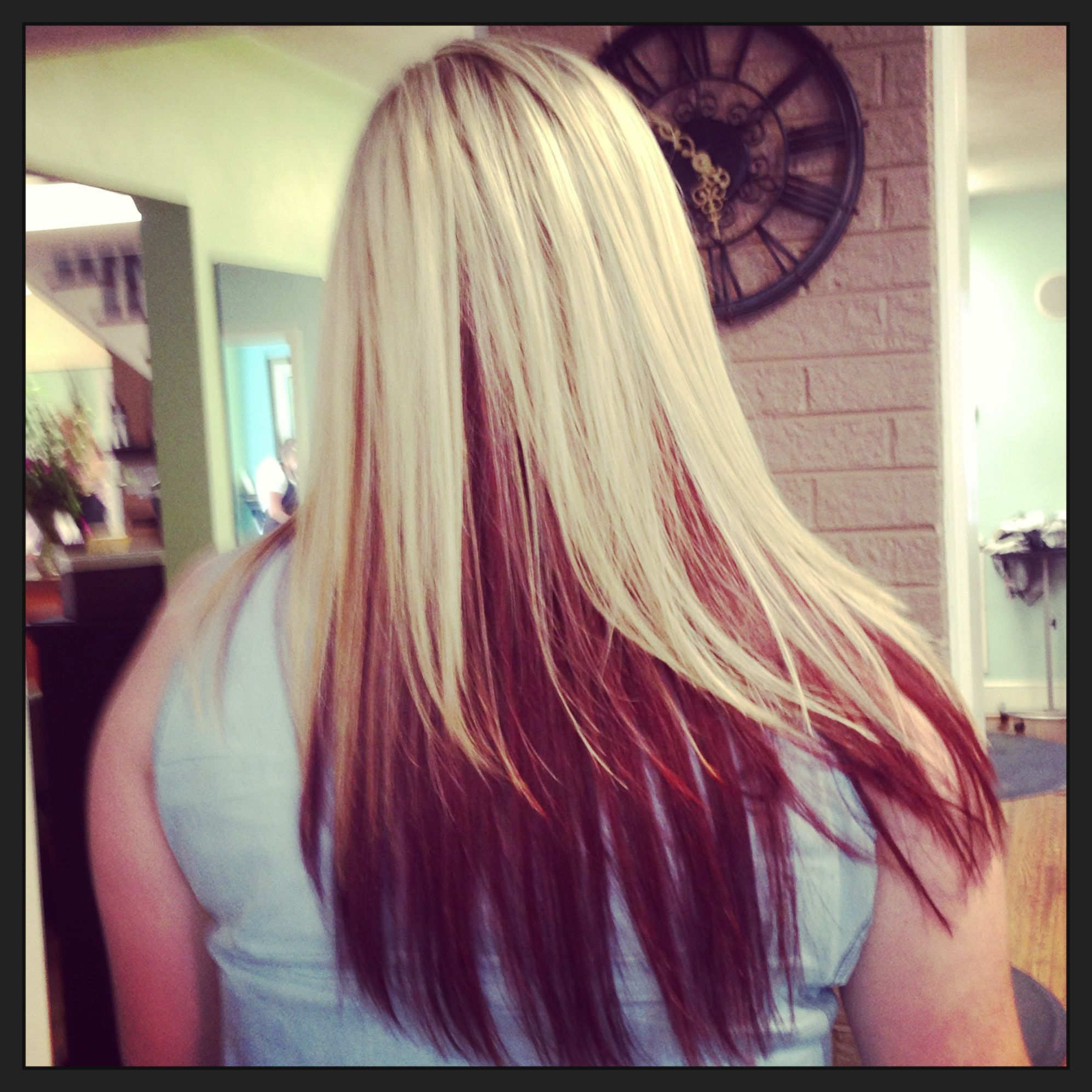 Blonde Heavy Hilites On Top And Bright Auburn Underneath Cool