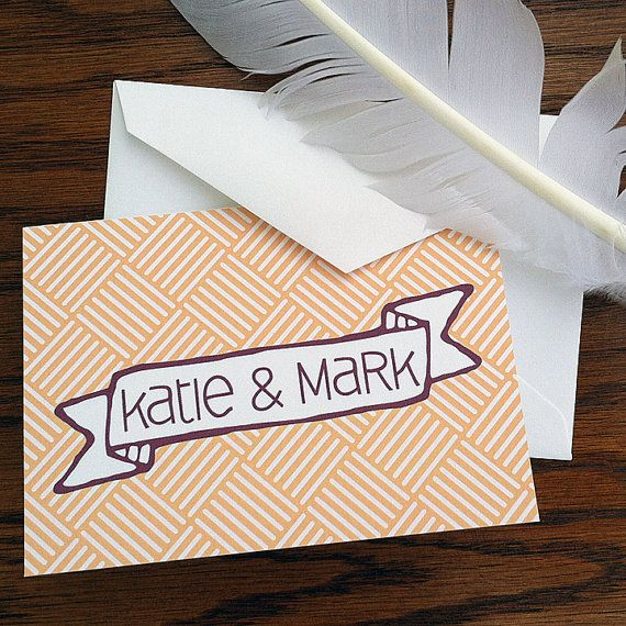 Items Similar To Wedding Thank You Notes With Modern Banner Handmade Stationery Bride And Groom Cards On