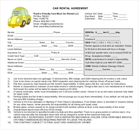 Image Result For Car Rental Contract  Decimal