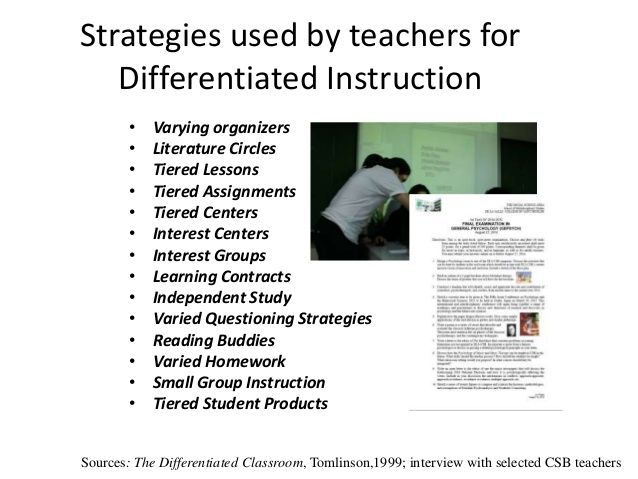 Strategies Used By Teachers For Differentiated Instruction Varying Organizers Literature