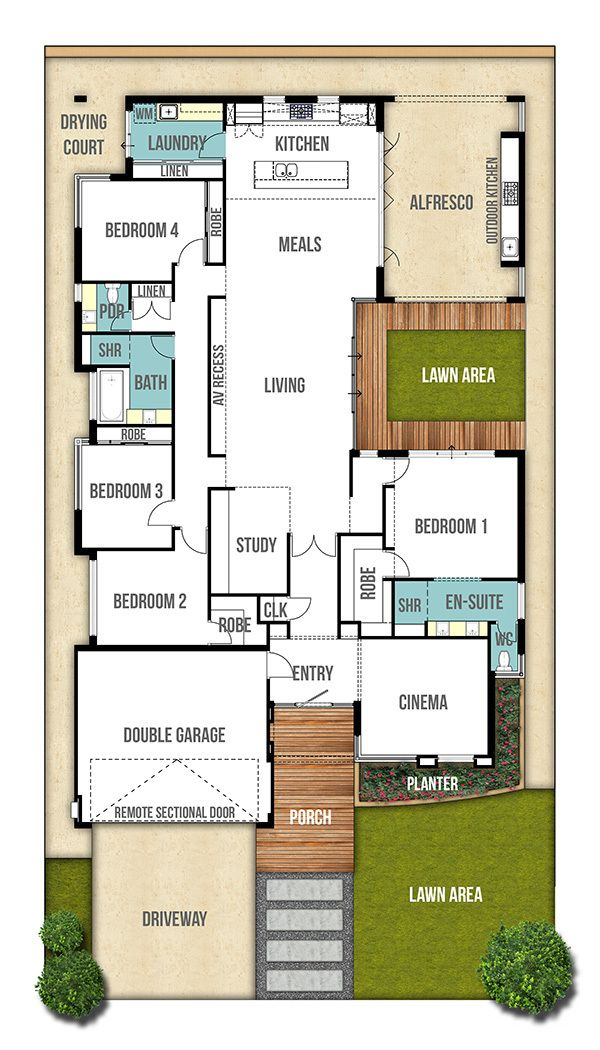 Single storey house design plan the moore 4bed 2bath - Single story four bedroom house plans ...