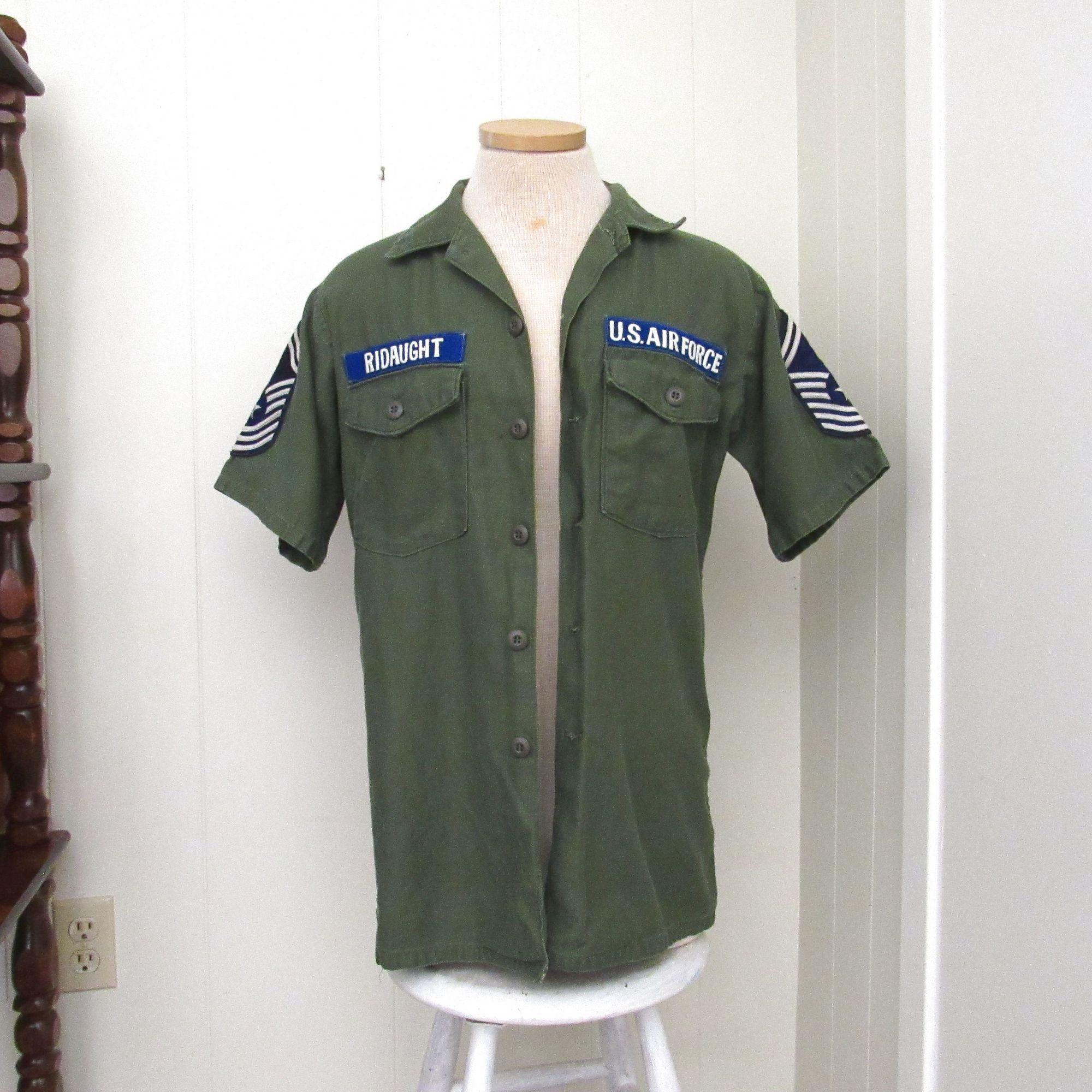 Vintage US Air Force Shirt Army Green Military Short